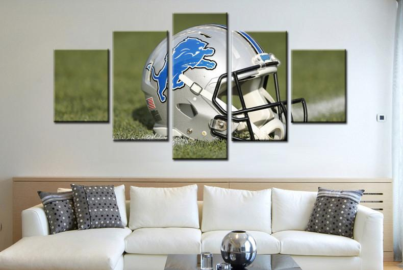 5 Piece Detroit Lions Helmet Rugby Canvas Paintings - It Make Your Day