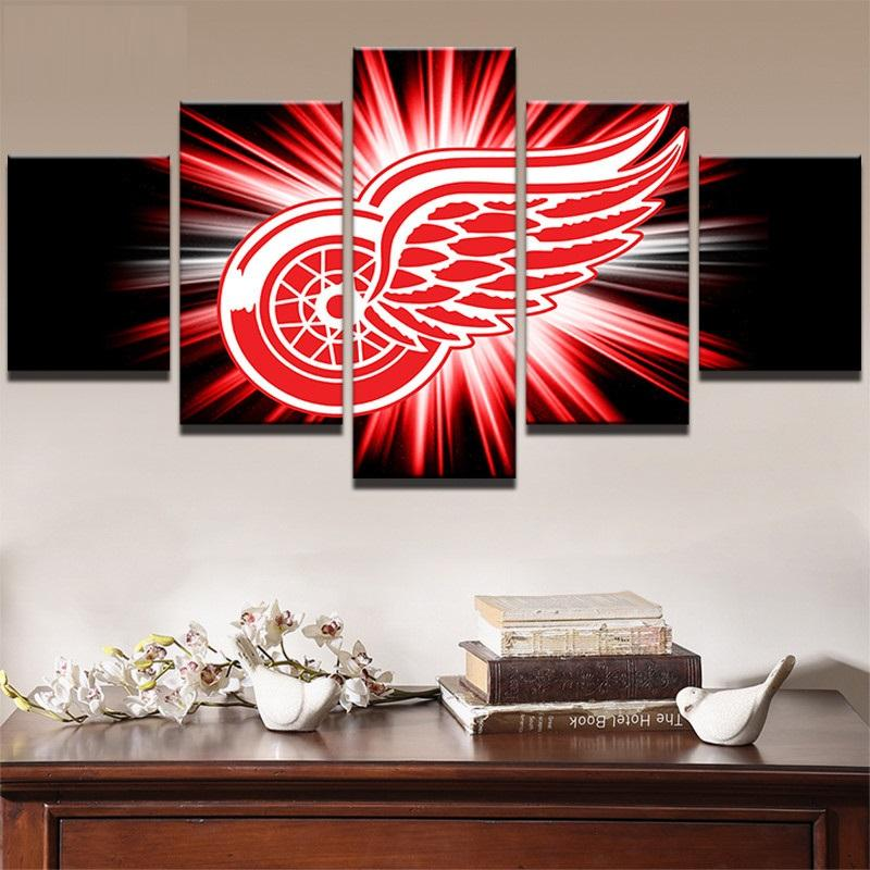 5 Piece Detroit Red Wings 4 Hockey Canvas - It Make Your Day