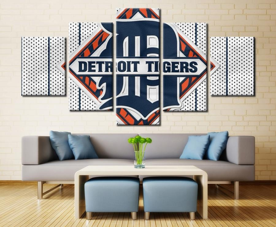 5 Piece Detroit Tigers Logo Wall Art Canvas Paintings - It Make Your Day
