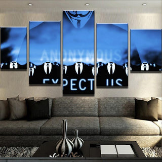 5 Piece Expect Us Anonymous Canvas Wall Art Paintings - It Make Your Day