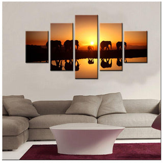 5 Piece Elephant Migration Canvas Wall Art Paintings - It Make Your Day