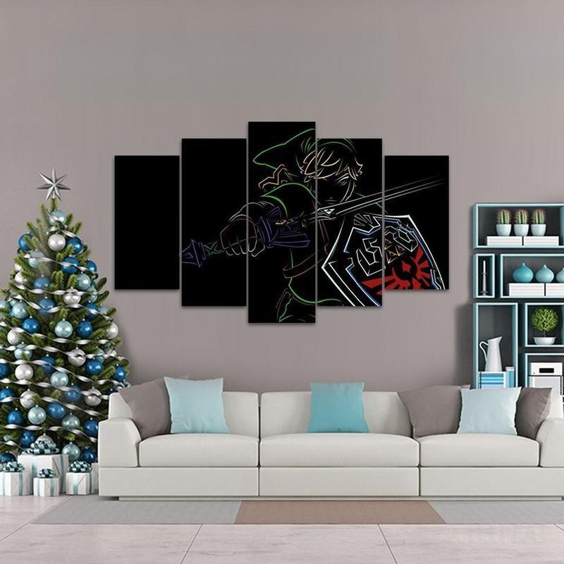 5 Piece Fade To Black Link Canvas Wall Art Paintings - It Make Your Day