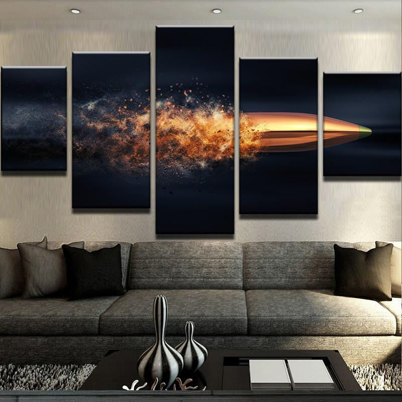5 Piece Flying Bullet Canvas Wall Art Paintings - It Make Your Day