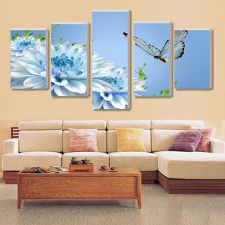 Framed 5 Piece Fashion Blue Butterfly Flower Canvas Wall Art Sets - It Make Your Day