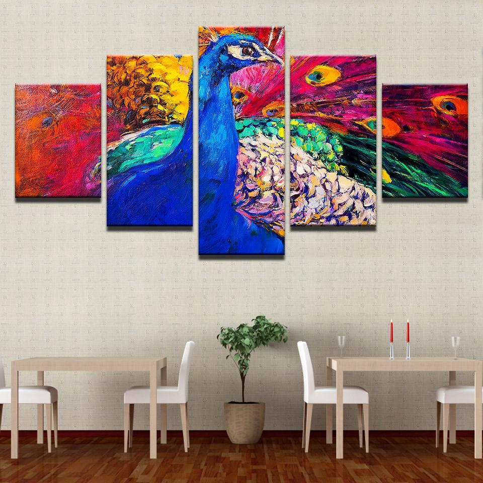 Framed 5 Piece Feathery Peacock Canvas Paintings - It Make Your Day