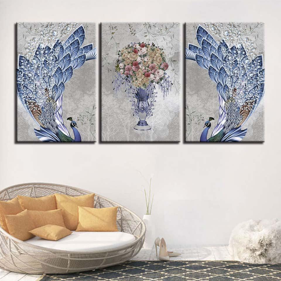Framed 3 piece feathery peacock flowers set canvas it make your day