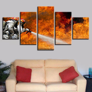 5 Piece Firefighter Defeat Fire HD Prints Canvas Wall Art Paintings - It Make Your Day