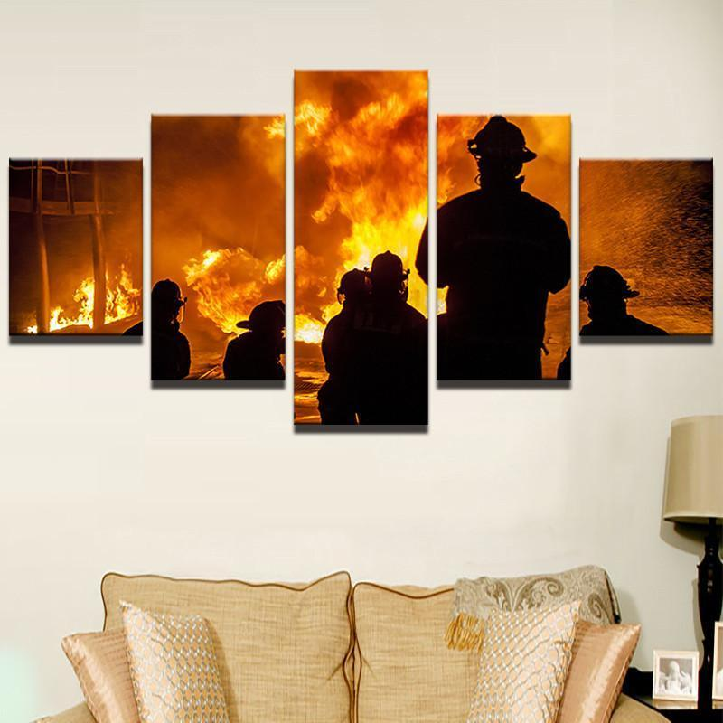 5 Piece Firefighter We Are Heroes Canvas Wall Art Paintings - It Make Your Day