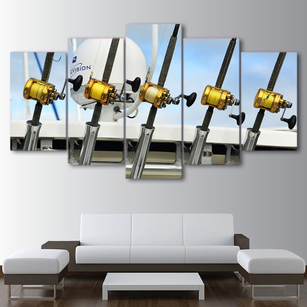 5 Pieces Fishing Rods Canvas - It Make Your Day