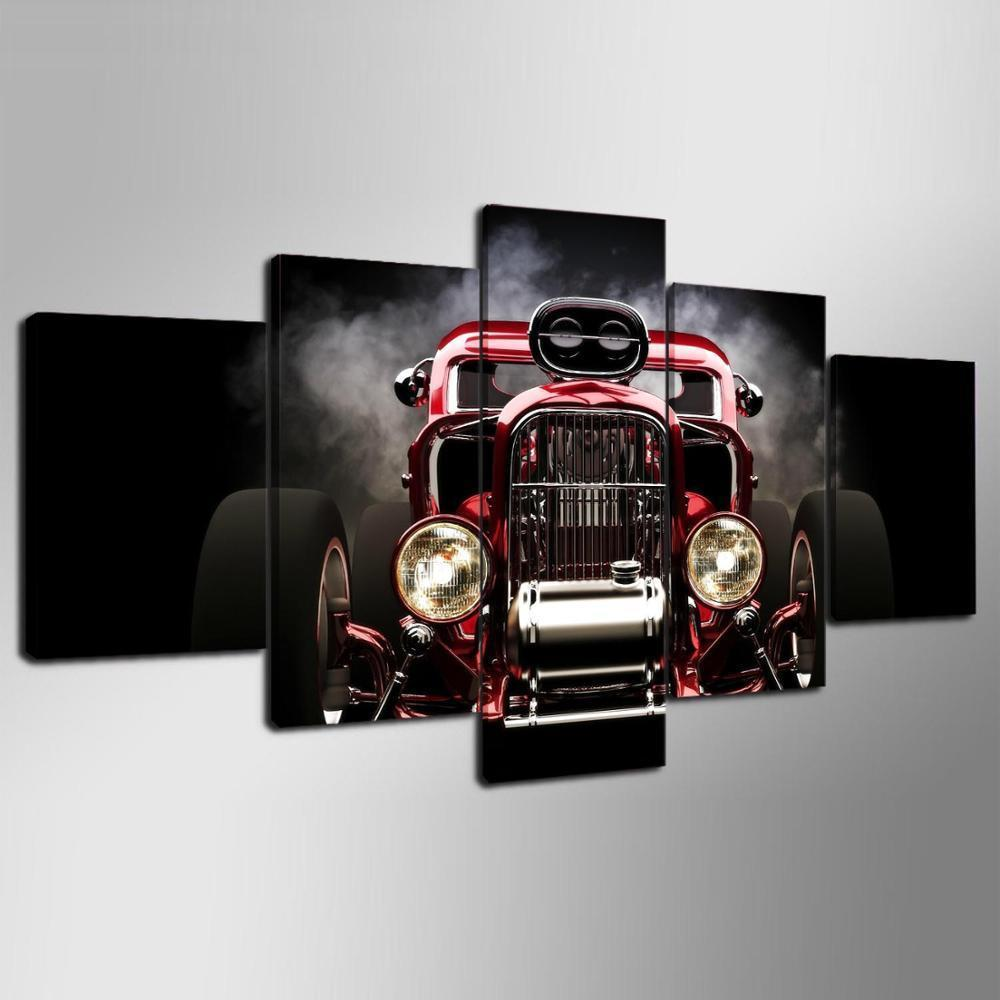 5 Pieces Hot Rod Red Muscle Car Canvas - It Make Your Day