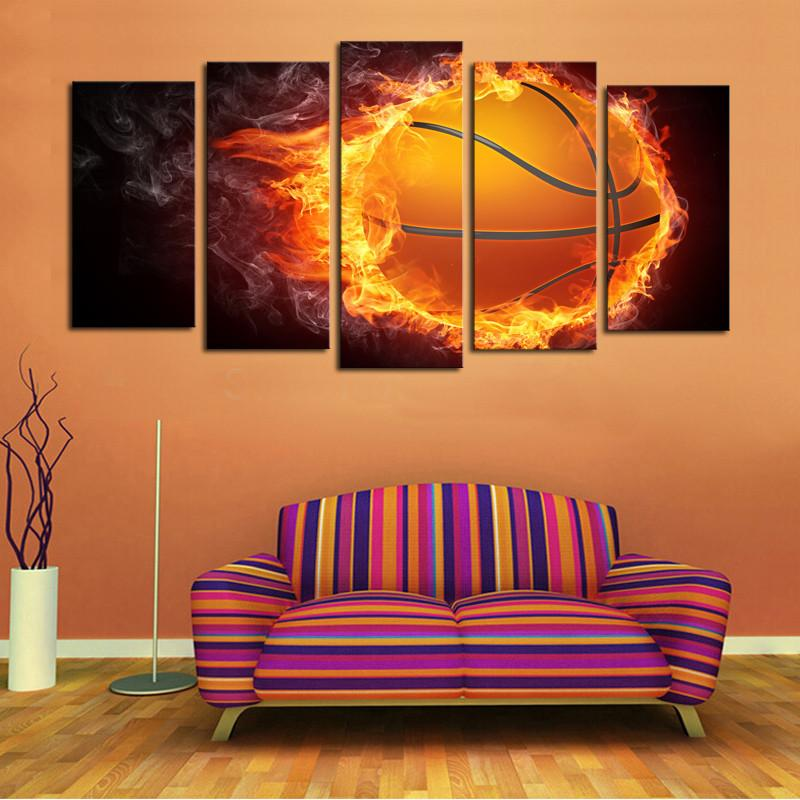 5 Piece Flame Court Basketball Canvas Painting Wall Art - It Make Your Day