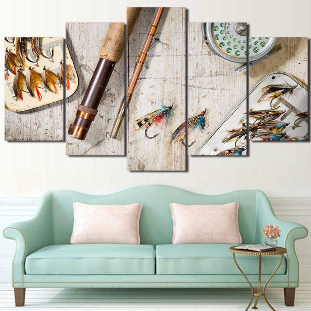 5 Pieces Fly Fishing Canvas - It Make Your Day