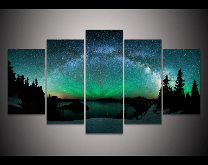 5 Piece Forest Aurora Borealis Canvas Painting Nature - It Make Your Day