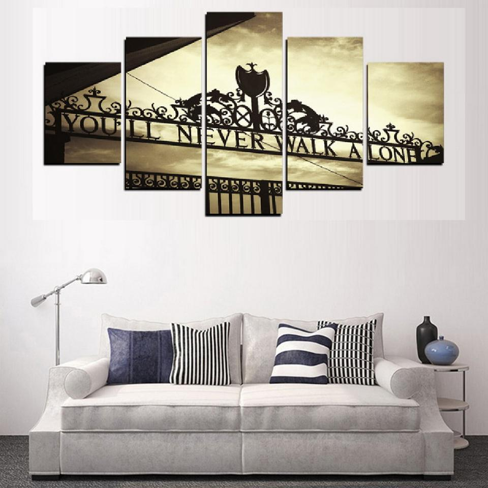 5 Piece You Will Never Walk Alone Liverpool Canvas Art Paintings ...