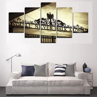 5 Piece You Will Never Walk Alone Liverpool Canvas Wall Art Paintings - It Make Your Day