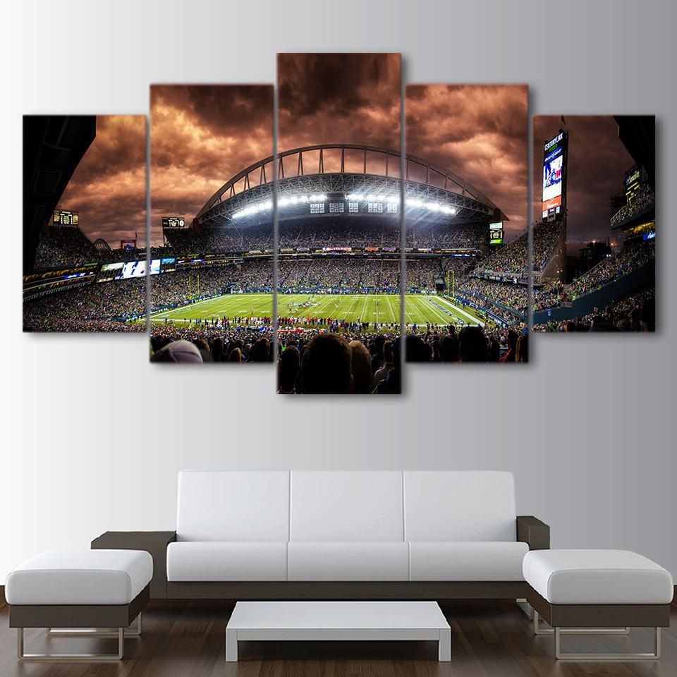 5 Panel Seattle Seahawks Stadium Canvas Paintings - It Make Your Day
