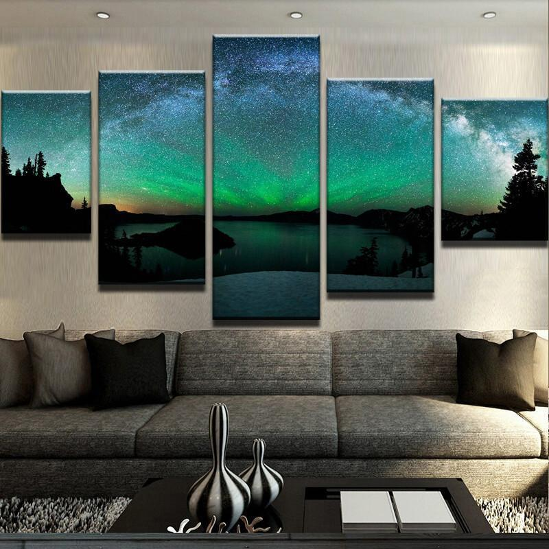 5 Piece Northern Lights Canvas Wall Art Paintings - It Make Your Day