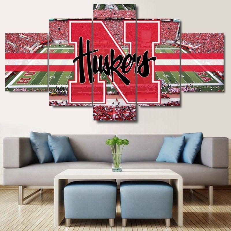 5 Piece Nebraska Cornhuskers Stadium Poster Canvas - It Make Your Day