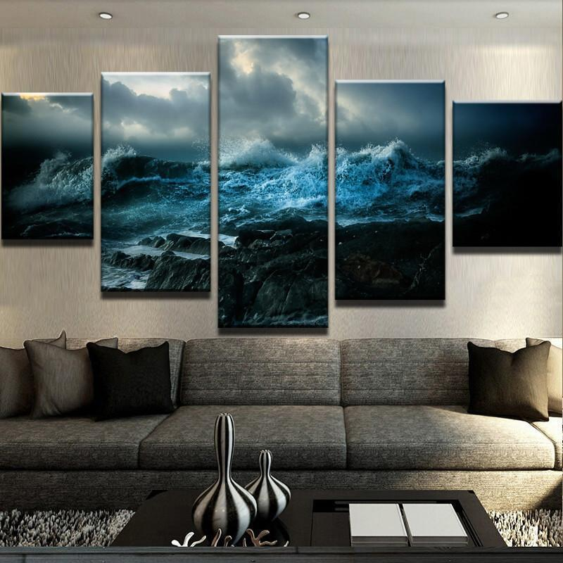 5 Piece Ocean Wrath Canvas Wall Art Paintings - It Make Your Day