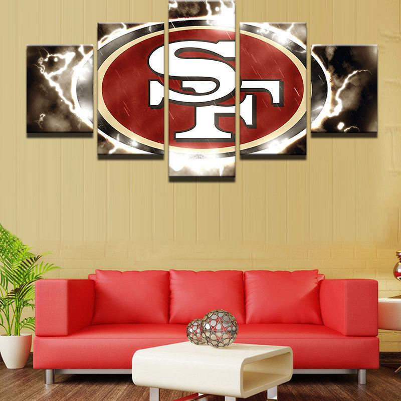 5 Piece San Francisco 49ers Sports Canvas Paintings - It Make Your Day