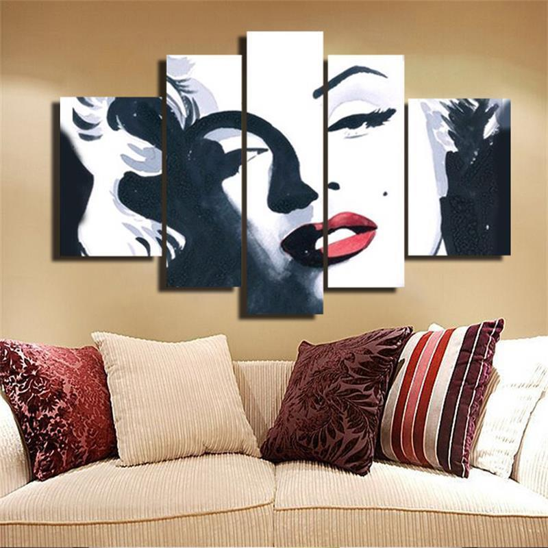 5 Piece Marilyn Monroe Black White Red Canvas - It Make Your Day