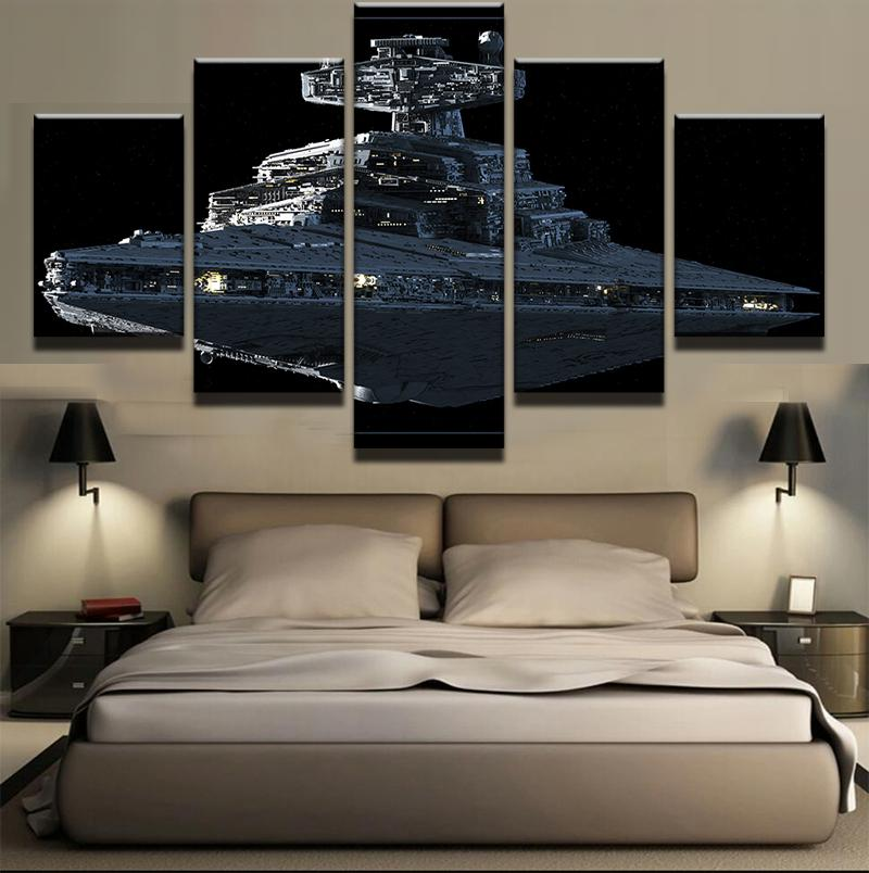 5 Piece Star Wars Imperial Battleship Star Destroyer Canvas Wall Art Paintings - It Make Your Day