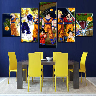 Framed 5 Piece Cartoon Anime Dragon Ball 15 Canvas Wall Art Paintings - It Make Your Day