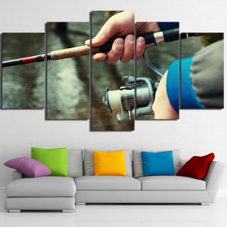 5 Piece Fishing Rod Print Canvas Wall Art Sets - It Make Your Day