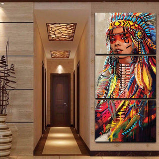 3 Piece Native American Indian Girl Feathered Canvas Wall Art Paintings - It Make Your Day