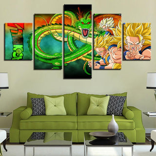 Framed 5 Piece Cartoon Anime Dragon Ball 22 Canvas Wall Art Paintings - It Make Your Day