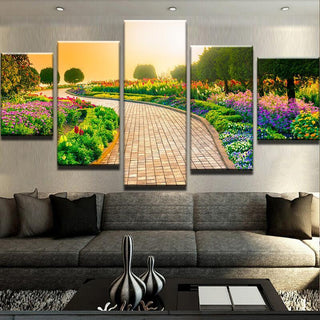 5 Piece Garden Walkway Flowers Canvas Wall Art Paintings - It Make Your Day