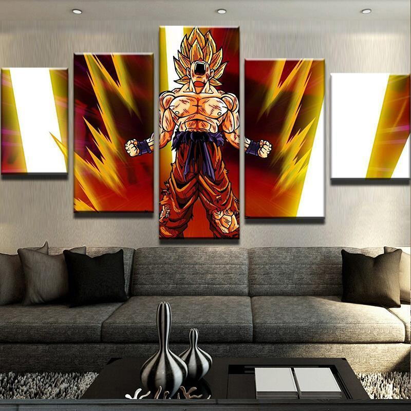 5 Piece Goku Super Saiyan Canvas Wall Art Paintings - It Make Your Day
