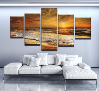 5 Piece Golden Shore Sunset Canvas Wall Art Paintings - It Make Your Day