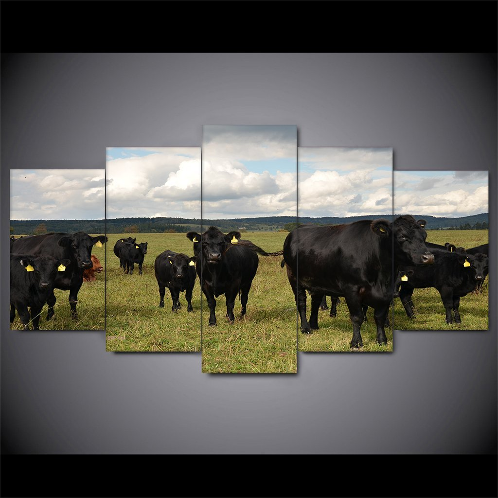 5 Piece Grazing Cattle Canvas Paintings - It Make Your Day