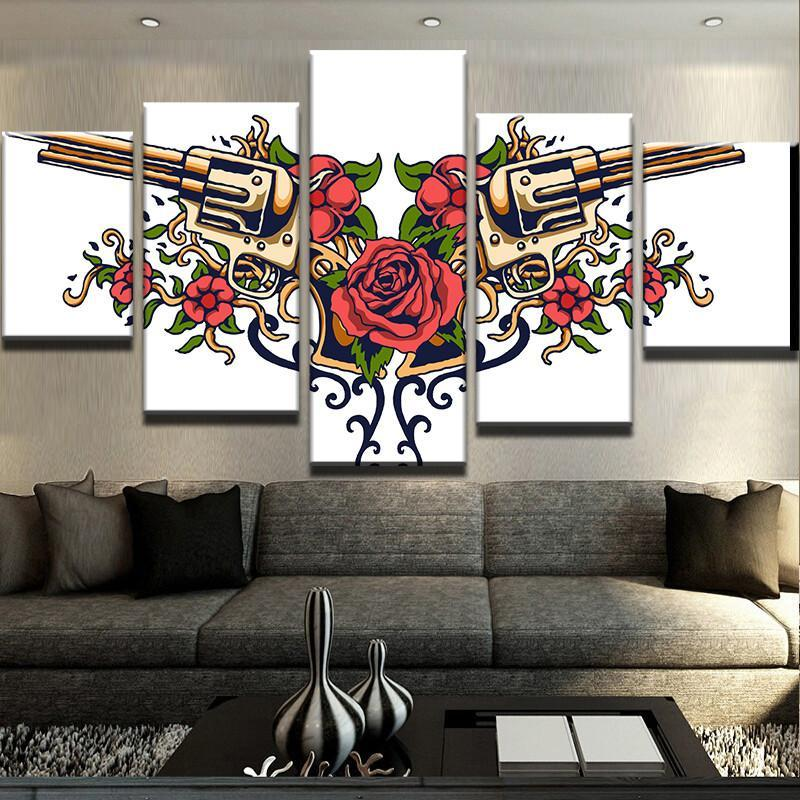5 Piece Guns n Roses Canvas Wall Art Paintings - It Make Your Day