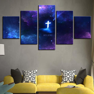 Framed 5 Piece Galaxy Cross Canvas - It Make Your Day