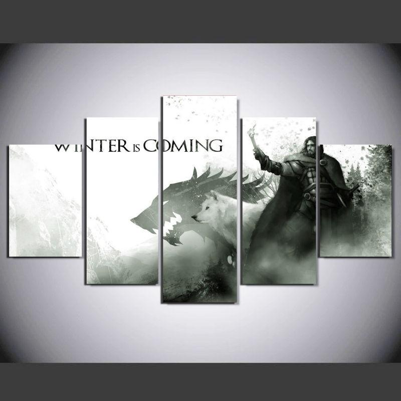 5 Piece Game Of Thrones Stark Movie Canvas Painting Wall Art - It Make Your Day