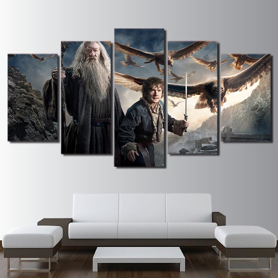 5 Piece Gandalf The Hobbit Movie Canvas Painting Wall Art - It Make Your Day