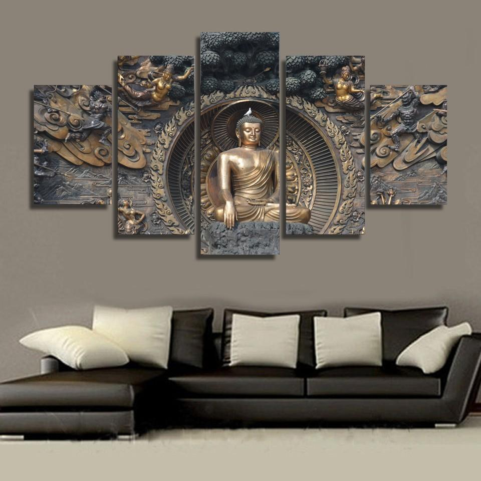 Framed 5 Piece Gautama Buddha Canvas - It Make Your Day