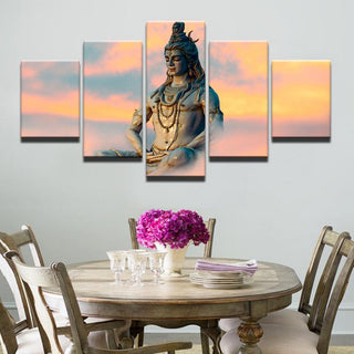 5 Piece God Shiva Sky Meditation Canvas Painting Wall Art - It Make Your Day