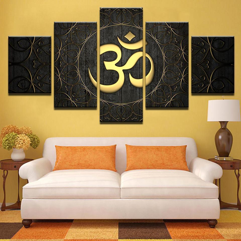 Framed 5 Piece Gold OM Canvas Paintings – It Make Your Day