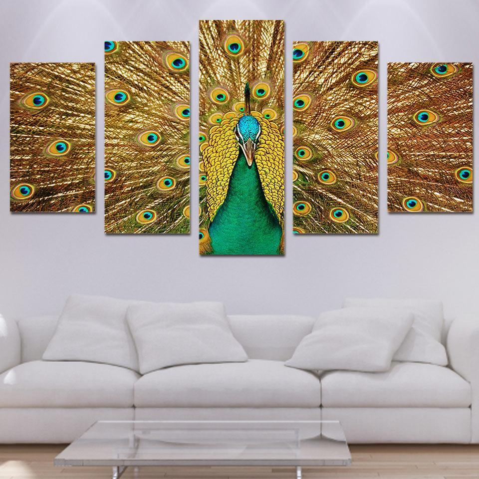 Framed 5 Piece Golden Peacock Canvas Paintings - It Make Your Day