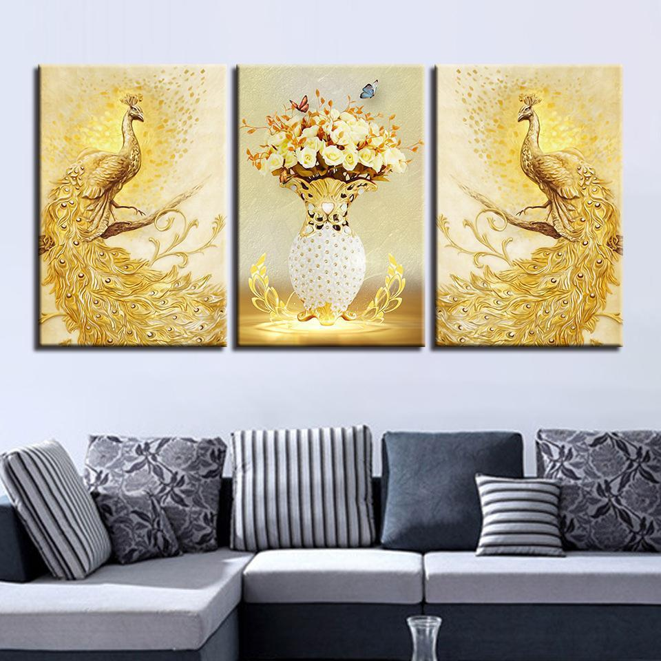 Framed 3 Piece Golden Peacock Flowers Canvas Wall Art Paintings Sale ...