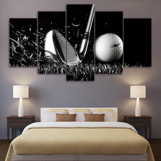 5 Piece Golf Black and White Sports Canvas Wall Art Paintings - It Make Your Day