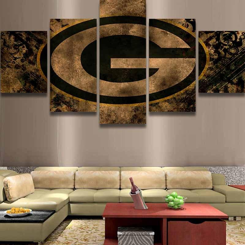 5 Piece Green Bay Packers Wall Art Canvas Paintings - It Make Your Day