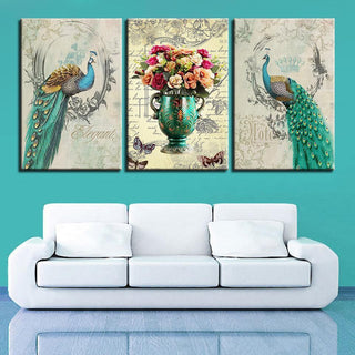 Framed 3 Piece Green Peacock Flowers Canvas - It Make Your Day