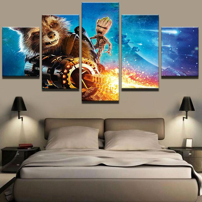 5 Piece Guardians Galaxy Raccoon Movie Canvas Painting Wall Art - It Make Your Day