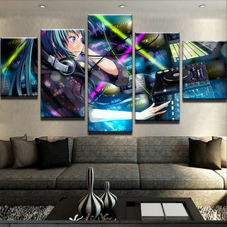 5 Piece Hatsune Miku Canvas Wall Art Paintings - It Make Your Day