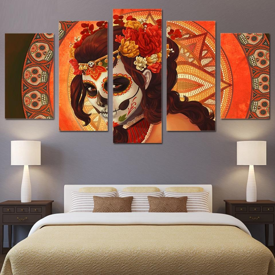5 Piece Day Of The Dead Face Sugar Skull Canvas Wall Art Sets   It Make
