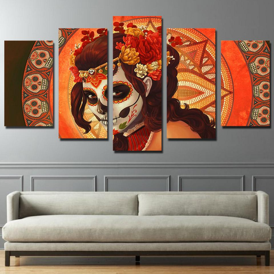 5 Piece Day of The Dead Face Sugar Skull Canvas Wall Art Sets - It Make Your Day